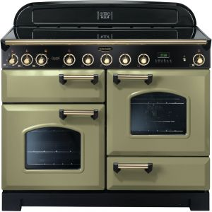 Rangemaster CDL110EIOG/B Classic Deluxe 110cm Electric Induction Range Cooker Olive Green / Brass