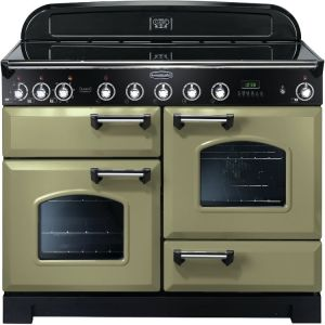 Rangemaster CDL110EIOG/C Classic Deluxe 110cm Electric Induction Range Cooker Olive Green/Chrome