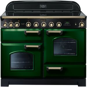 Rangemaster CDL110EIRG/B Classic Deluxe 110cm Electric Induction Range Cooker Racing Green/Brass