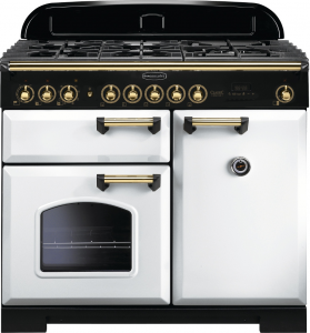 Rangemaster CDL100DFFWH/B Classic Deluxe 100 Dual Fuel Range Cooker, White Brass