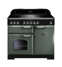 Rangemaster CDL100EIMG/C Classic Deluxe 100cm Electric Induction Range Cooker Mineral Green/Chrome