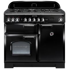 Rangemaster CDL100DFFBL/C Classic Deluxe 100cm Dual Fuel Range Cooker Black Chrome