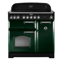 Rangemaster CDL90EIRG/C 90cm Classic Deluxe Electric Induction Racing Green/Chrome Range Cooker