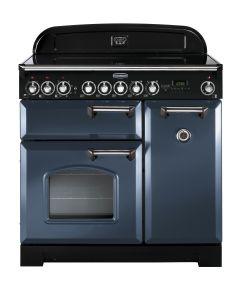 Rangemaster CDL90ECSB/C Classic Deluxe 90cm Electric Ceramic Range Cooker Stone Blue/Chrome