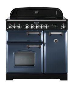 Rangemaster CDL90EISB/C Classic Deluxe 90cm Induction Range Cooker Stone Blue/Chrome
