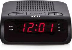 Akai A61020 AM/FM Clock Radio with LED Display-Black