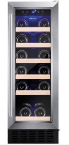 Amica AWC300SS 30cm Freestanding/ Under Counter Slimline Wine Cooler Stainless Steel