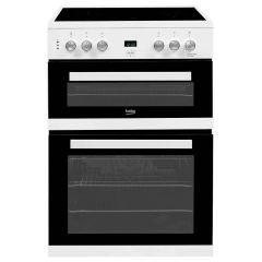 Beko EDC633W 60cm Ceramic Hob Electric Double Oven Cooker - White