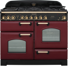 Rangemaster CDL110DFFCY/B Classic Deluxe Dual Fuel 110cm Range Cooker Cranberry Brass