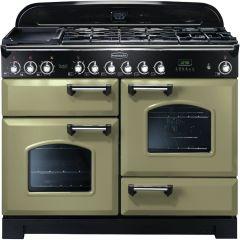 Rangemaster CDL110DFFOG/C Classic Deluxe 110cm Duel Fuel Range Cooker  Olive Green/ Chrome