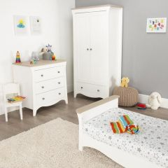 Cuddleco FRN/CUD/847112 Clara 3 Piece Nursery Furniture Set with a free cot mattress- White/Wood Ash