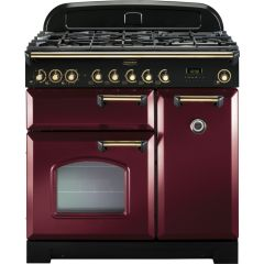 Rangemaster CDL90DFFCY/B 90cm Classic Deluxe Dual Fuel Range Cooker Cranberry/Brass
