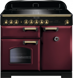Rangemaster CDL100DFFCY/B Classic Deluxe 100 Dual Fuel Range Cooker, Cranberry/Brass
