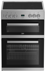 Beko EDC633S 60Cm Double Oven Electric Cooker With Ceramic Hob - Silver