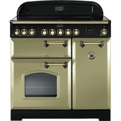 Rangemaster CDL90EIOG/B Classic Deluxe 90cm Electric Induction Range Cooker Olive Green/Brass