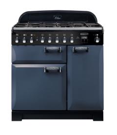 Rangemaster ELA90DFFSB/ Elan Deluxe 90cm Dual Fuel Range Cooker Stone Blue