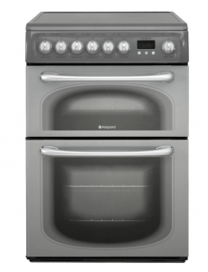 Hotpoint 60HEG 60cm Electric Double Oven Cooker with Ceramic Hob Graphite