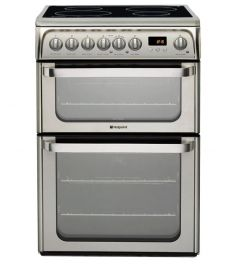 Hotpoint HUI611X 60cm Induction Electric Cooker with Double Oven - Stainless Steel