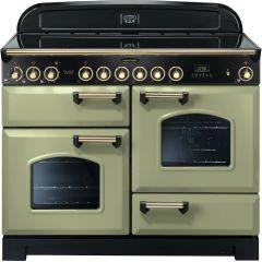 Rangemaster CDL110ECOG/B Classic Deluxe 110cm Electric Ceramic Range Cooker Olive Green/Brass