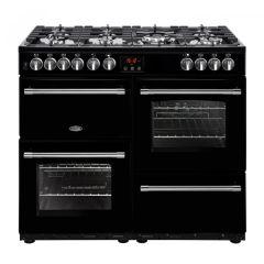 Belling Farmhouse FH100DFTBK 100cm Dual Fuel Range Cooker - Black