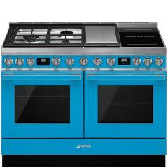 Smeg CPF120IGMPT Portofino 120cm Dual Cavity Cooker With Mixed Fuel Hob-Turquoise