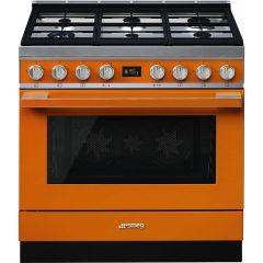 Smeg CPF9GPOR Portofino 90cm Dual Fuel Range Cooker-Orange