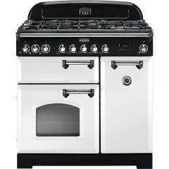 Rangemaster CDL90DFFWH/C 90cm Classic Deluxe Dual Fuel White/Chrome Range Cooker