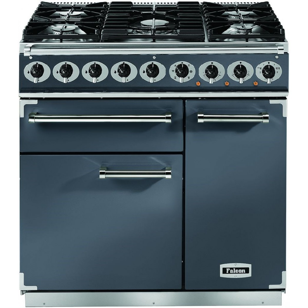 Falcon Deluxe 900 F900DXDFSL/NM Dual Fuel Slate/Chrome Range Cooker