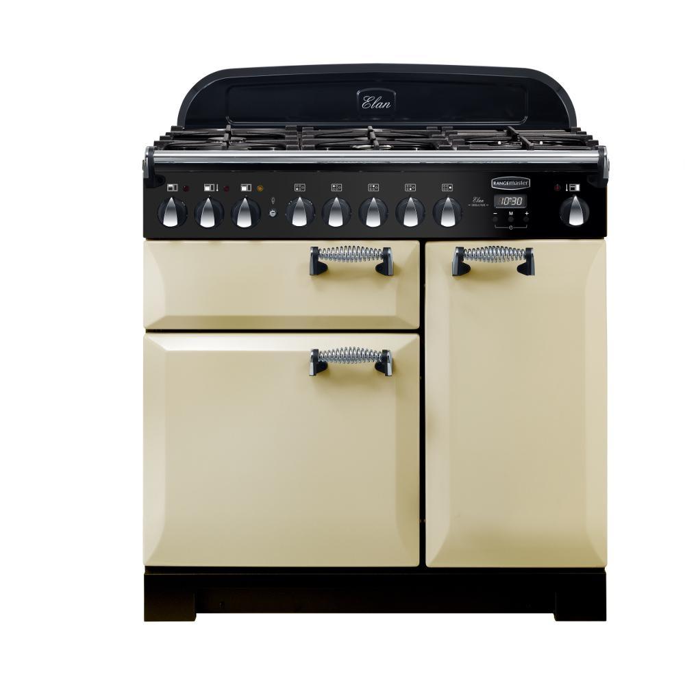 Rangemaster ELA90DFFCR ELAN Deluxe 90cm Dual Fuel Range Cooker Cream
