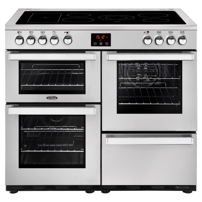 Belling Cookcentre 100EPROFSTA 100cm Electric Ceramic Range Cooker-Professional Stainless Steel