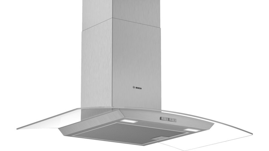 Bosch Serie | 2 DWA94BC50B 90cm Glass Design Chimney Extractor Hood, Brushed Steel