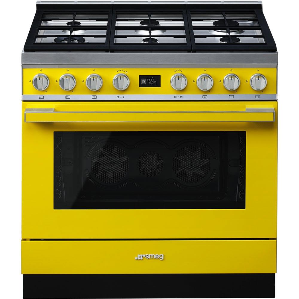 Smeg CPF9GPYW Portofino 90cm Dual Fuel Range Cooker-Yellow