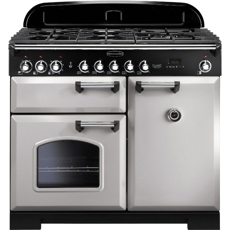 Rangemaster CDL100DFFRP/C 100cm Classic Deluxe Dual Fuel Royal Pearl/Chrome Range Cooker