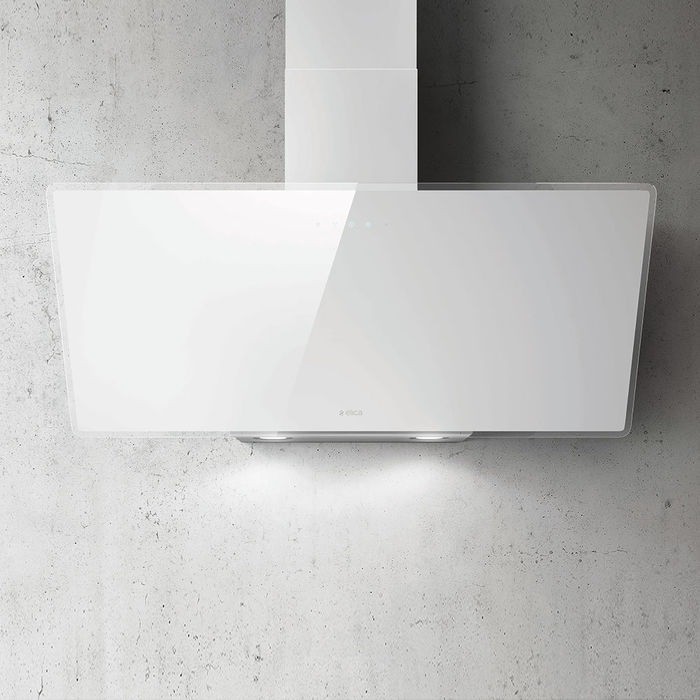 Elica Shire 90cm White Glass Wall Mounted Hood
