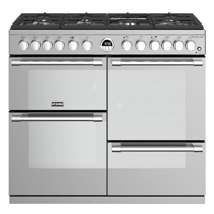 Stoves Sterling STRS1000DFSS 100cm Dual Fuel Range Cooker Stainless Steel