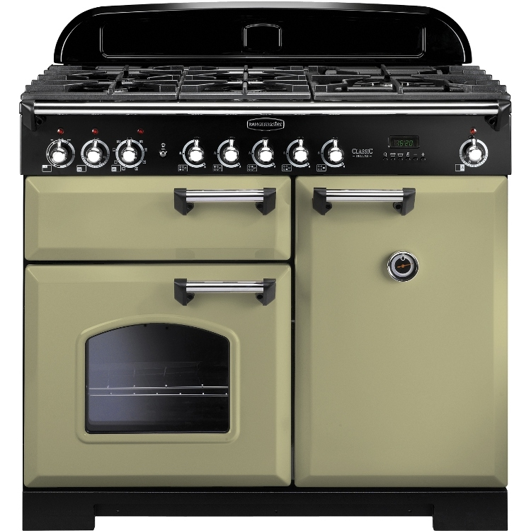Rangemaster CDL100DFFOG/C 100cm Classic Deluxe Dual Fuel Olive Green/Chrome Range Cooker