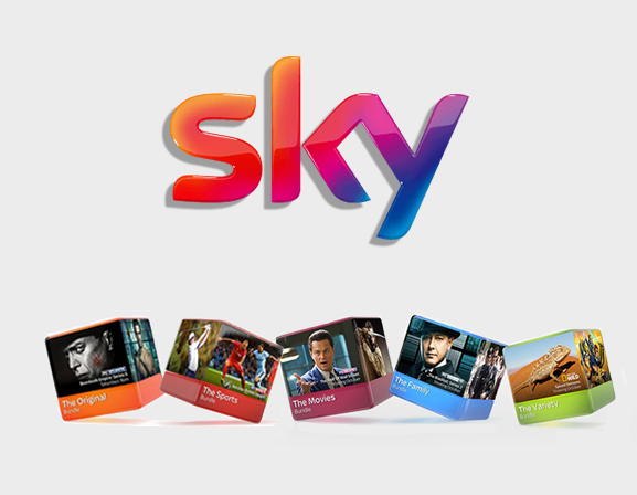 Sky logo and package boxes